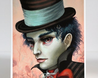 The Mad Hatter - Limited Edition Alice in Wonderland signed numbered 5x7 pop surrealism Fine Art Print by Mab Graves