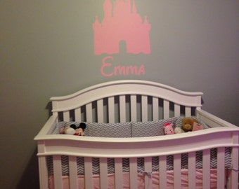 Disney CASTLE Personalized Name Vinyl Decal Wall Lettering Words Tinkerbell Princess