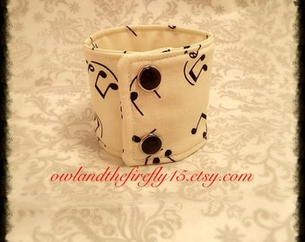 Music Notes Fabric Cuff Bracelet Adjustable