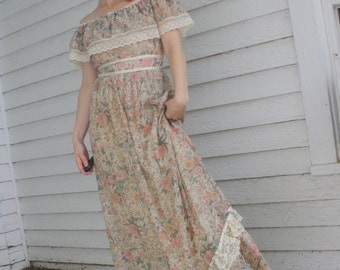 Gunne Sax Dress 70s Vintage Floral Print Maxi Lace XS 9 Romantic Full Length