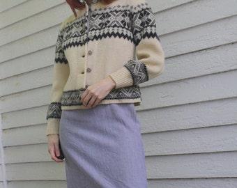 Nordic Wool Cardigan Sweater Vintage 50s 1950s Cream Jersild S XS