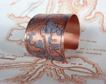 Mississippi River Etched Jewelry - Cuff Bracelet of New Orleans Historical Map