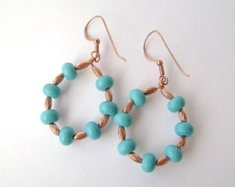 Turquoise Earrings, Copper Hoop, Gemstone Jewelry, Aqua Blue, Chalk Turquoise, Robins Egg, Baby Blue, Hoops, Wire Teardrops, 669