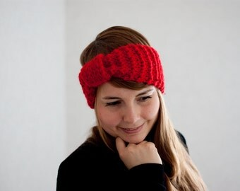 Chunky knit headband in red turban styled headband sparkling with sequins