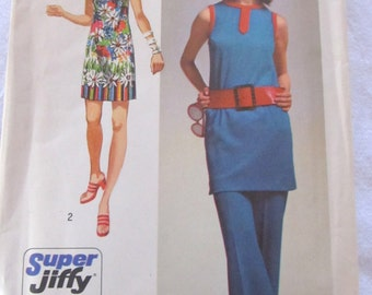 vintage SIMPLICITY 9410 --Misses' Supe- Jiffy Mini-Dress and Pants-- (1971) --size 12