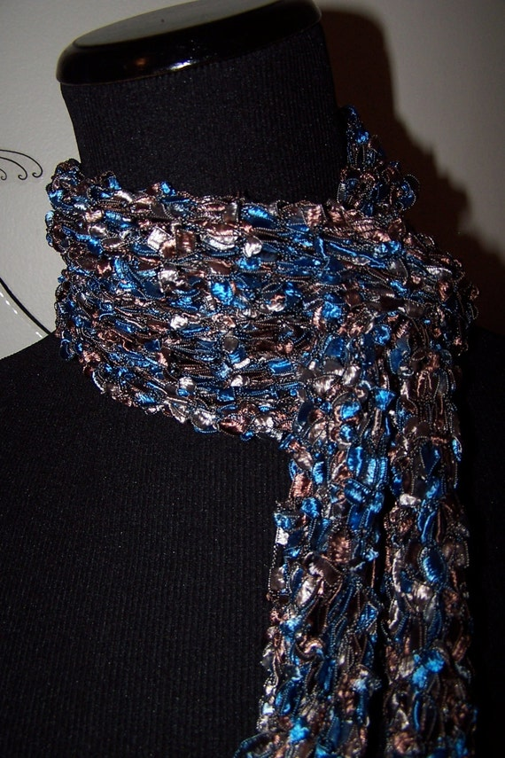 Knitted Ladder Ribbon Yarn Scarf in Blue and by WeeCatCreations