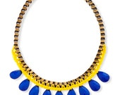 Yellow and blue Statement Necklace metal chain Fashion jewelry, Drop Beads Trendy necklace, Unique necklace for her
