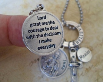 St. Jude, Believe in Miracles Prayer Charm Necklace, Baptism Gift, Catholic Jewelry