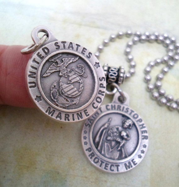 marines protection necklace st christopher by findyourfeeling. Black Bedroom Furniture Sets. Home Design Ideas