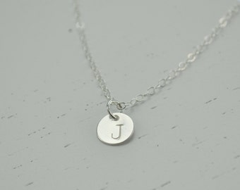 Sterling Disc Initial Necklace - personalized silver dot round tiny disc charm hand stamped sweet gift for her - simple everyday jewelry
