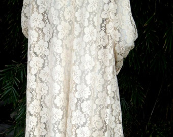 Timeless 50s 60s sheer floral lace evening coat  hand stitched ivory blush color M L