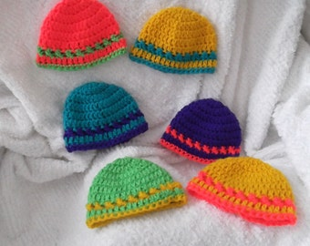 New Listing.....Infant Cap...Bright and NEON Stripes..Preemie and Newborn Sizes...Baby Boy or Girl...Ready to Ship too