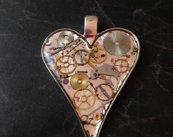 Large Shiny Clockwork Clutter Heart Necklace