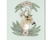 Deer with Ferns - 5x7 Mini Print