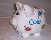 Personalized Piggy Bank Big Beetle Bugs and Spider