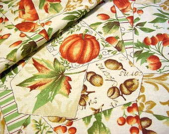 Autumn Patchwork Cotton Fabric -Pumpkins Acorns Rosehips Oak Maple Fall Leaves Thanksgiving Crazy Quilt Material -OOP Oakhurst Textiles