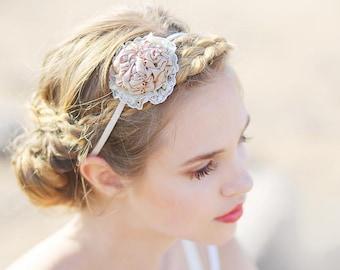 Cream beige textile headband, fabric headband, hair fascinator, boho Headband, Hair Accessory, Coachella, prom, wedding Headband, elastic