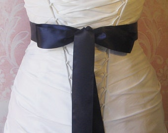 Double Face Dark Navy Blue Satin Ribbon, 1.5 Inch Wide, Midnight Blue Ribbon Sash Dark Blue, Bridal Sash, Wedding Belt, 4 Yards