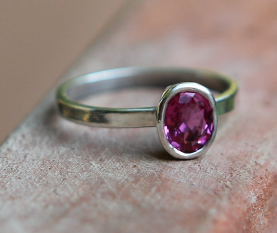 Hammer Forged .80ct Pink Tourmaline And Argentium Sterling Silver Ring SZ 5.5