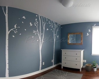 Birch Trees Wall Decal Fying Birds Stickers Nursery Tree Wall Murals - Three Big Birch Tree Decal - Large Size Vinyl Tree Decal Custom Decal