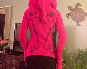 CUSTOM Pixie Hoodie with Needle Felted Detailing