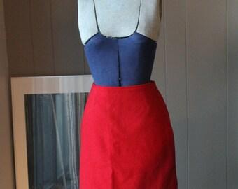 90s Sleeping on Snow High Waisted  Skirt First Nations Skirt Red Wool Skirt Straight skirt