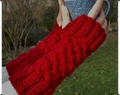 Knit Fingerless Gloves, Fingerless Mitts - Hand knit Cable Cranberry Red - Warm and Cozy for Fall and Winter