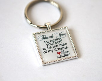 wedding keepsake gift for mother of the groom, father of groom gift, father in law gift, mother in law gift, custom quote keychain