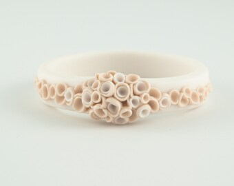 Statement Flower Bangle Bracelet Champagne Ecru Ivory  White , Porcelain Ceramic Bracelet Bangle La Angosta  Bold Statement Jewelry Spring