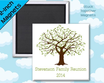 Family Reunion Favors - Magnets - 2 Inch Squares - Set of 10 Magnets