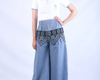 100 percent hemp wide leg pants batik/embroidery for Women Blue