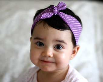 Knot baby headwrap Lilac and white polka dots