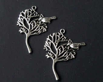 Silver Tree Bird Charm - Antique Silver Filigree Tree Pendant - Nature Lovers - Metal Jewelry Findings in Bulk - Little Bird Charm - 8 Pcs