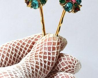 Bridal Bobby Pins, Wedding Hairpins,Rhinestone Bobby Pin,Vintage Bobby Pins,1950s Hairpins,Something Blue,Blue and Gold,