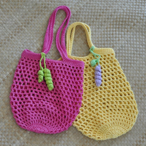 Free Crochet Pattern For Small Tote Bag : PDF Small Jemmas Market Bag N Mesh Tote Crochet Pattern