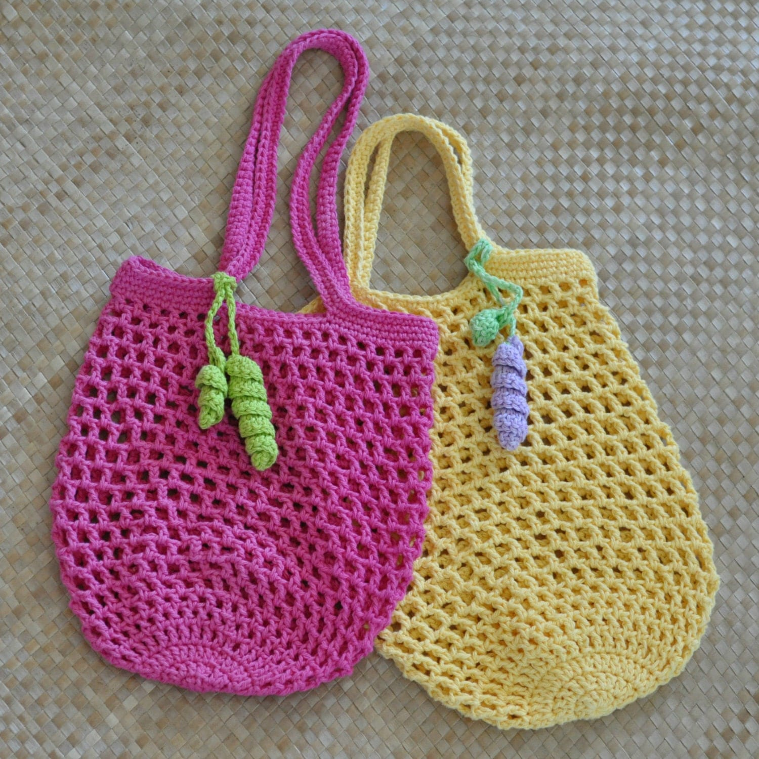 Crochet Small Tote Bag Pattern : PDF Small Jemmas Market Bag N Mesh Tote Crochet Pattern