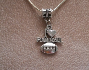 Football Necklace, Sports Jewelry, Sterling Silver Necklace Snake Chain, I love Football, by Brendas Beading on Etsy