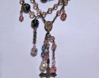 Pretty Pink and Blue Italian Repurposed Vintage Rosary Necklace