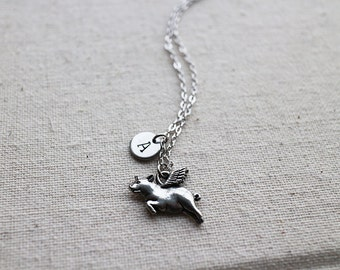 Personalized Initial Flying Pig Necklace. piggy necklace. everyday necklace. birthday gift