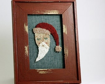 Folk Art Punchneedle Santa. Framed Christmas Wall Art. Holiday Decor. Punch needle Embroidery. Red and Green. By HarpandThistle.