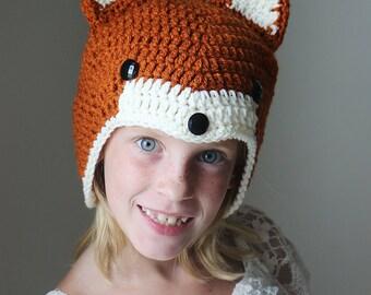 Crochet Fox Hat - Woodland Animal Hat - Halloween Costume - Foxy Costume Hat - Crochet Baby Hat - Red Fox Hat - Child Fox Beanie