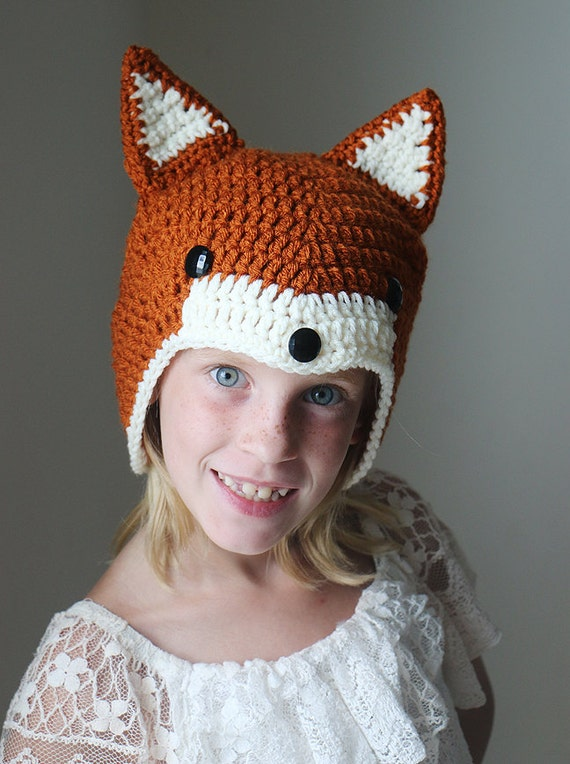 Crochet Fox Hat : ... Foxy Costume Hat - Crochet Baby Hat - Red Fox Hat - Child Fox Beanie