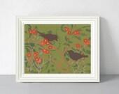 Bird Art Print, Green and Red Home Decor