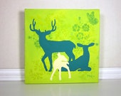Modern Deer Family Home Decor, Teal and Lime Green Painting