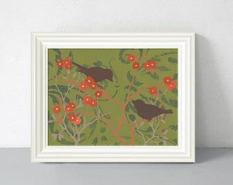 Bird Art Print, Green and Red Home Decor