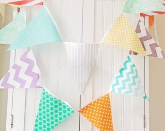 Fabric Banner, Bunting, Cotton Pennant Flags, Wedding, Baby Shower, Birthday Party, Baby Nursery, Orange, Mint, Grey, Yellow, Coral, Purple