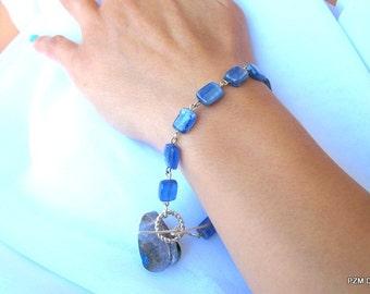 Kyanite tennis bracelet, blue gemstone sterling silver bracelet, fine jewelry
