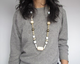 Vintage Bone and Milk Glass Necklace c.1920s