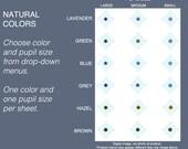 Choice: One Size Dark Shades 5mm, 6mm, 7mm Eyeball sizes. lavender, green, blue, grey, hazel, brown. Natural dark colors