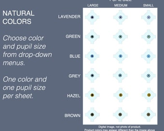 Choice: One Size Dark Shades 5mm, 6mm, 7mm Eyeball sizes. lavender, green, blue, grey, hazel, brown. Natural dark colors